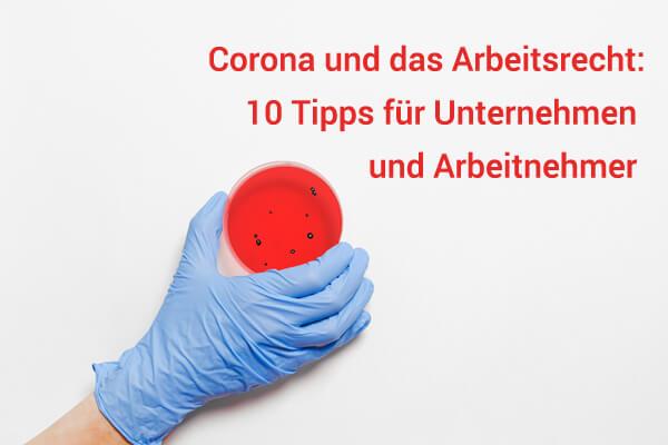 corona und das arbeitsrecht: hand hält petrischale